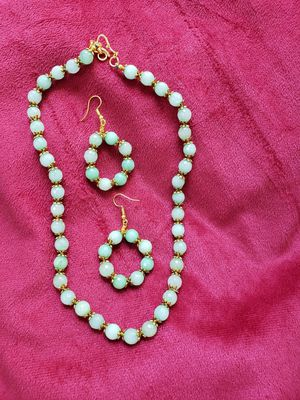 Light green stones necklace with ear rings for Sale in Seattle, WA