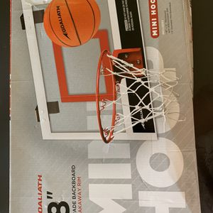 "NEW GOALIATH 18"" Over the Door Mini Basketball Hoop Set with Shatterproof Backboard Perfect for Home or Office for Sale in Laguna Woods, CA"