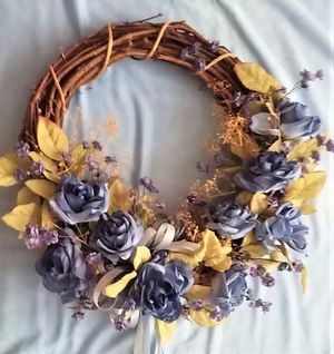 """Grape vine wreath decorated with blue roses 17"""" diameter x 6"""" high- for Sale in Northfield, OH"""