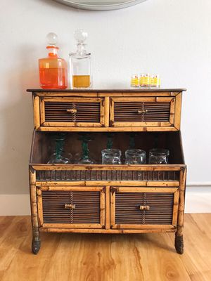 Mid Century Mini Bamboo Tiki Bar / Cabinet / Hutch for Sale in Los Angeles, CA
