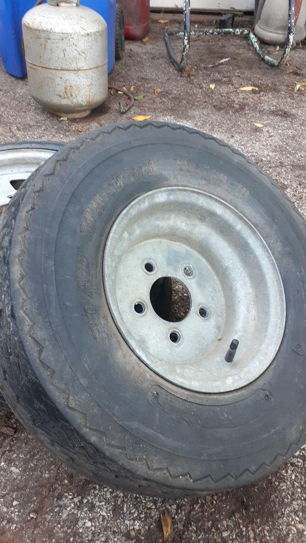 Trailer tire used 20.5 x 8.0 -10 and 5 lug rim.