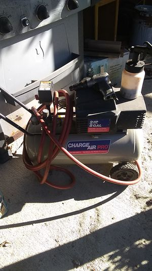 Devilbiss pro 2hp air compressor with quick connects 50' hose drill and paint gun for Sale in Columbus, OH