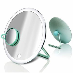 (Round, Tiffany Blue) - LED Lighted Makeup Mirror with Extra 3X Magnifying Vanity Small Mirror, Portable Rechargeable Light Up Mirrors, One Touch Scr for Sale in Quitman, TX