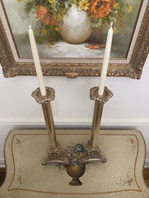 Pair of Antique Brass Baroque Styled Candelabras for Sale in Glenview, IL