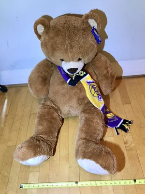 "Brand new 3 foot tall teddy bear from Toys ""R"" Us still with tag on it and Lakers scarf $35 in Ontario 91762 for Sale in Chino, CA"