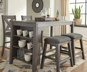 Cool Grey Island Table with storage and stools for Sale in St. Louis, MO