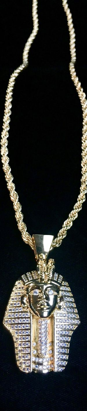 PHARAOH FULL DIAMONDS CZ 18K GOLD CHAIN MADE IN ITALY!! for Sale in Beverly Hills, CA