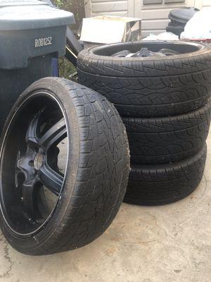 "22"" BLACK RIMS - set of 4 w/ tires for Sale in Escondido, CA"