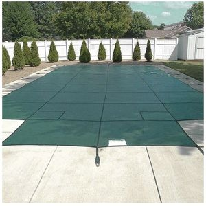 Happybuy Pool Safety Cover 20x40ft Rectangle Inground Safety Pool Cover Green Mesh with 4x8ft Center End Steps Solid Pool Safety Cover for Swimming Po for Sale in Long Beach, CA