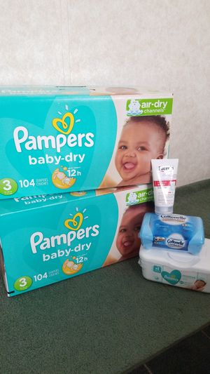 2 boxes of Pampers sz3 ,wipes and baby cream for Sale in Dover, PA
