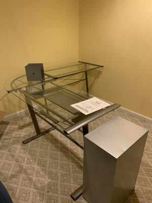 Glass and metal desk for Sale in Canton, MI