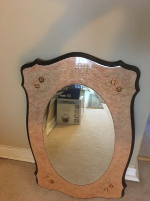 1940s Italian Inlaid Blonde Wood Lacquered Mirror for Sale in Des Plaines, IL