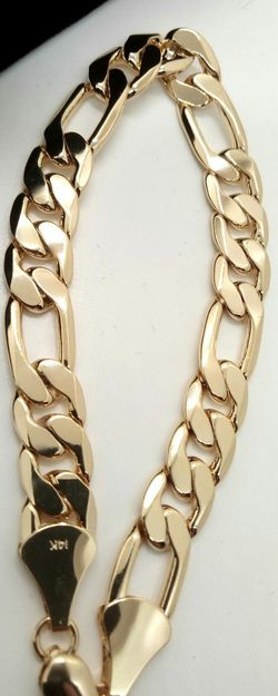 14K Genuine Gold Filled 11mm Figaro Link Bracelet & Gift Box for Sale in Boca Raton,  FL