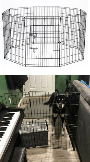New in box 30 inch tall x 24 inches wide each panel x 8 panels steel wire exercise playpen 16 feet long fence safety gate dog cage crate kennel for Sale in Whittier, CA