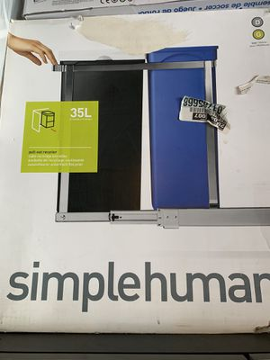 Brand New simplehuman 35 Liter / 9.3 Gallon Dual Compartment Under Counter Kitchen Cabinet Pull-Out Recycling Bin and Trash Can for Sale in Costa Mesa, CA