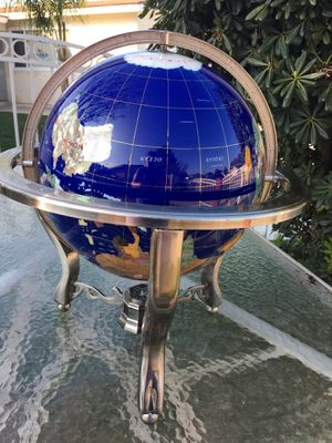 Decorative Globes Unique Art 21-Inch Tall Blue Lapis Ocean Table Top Gemstone World Globe with Tripod Silver brass Stand and wolrd for Sale in San Bernardino, CA