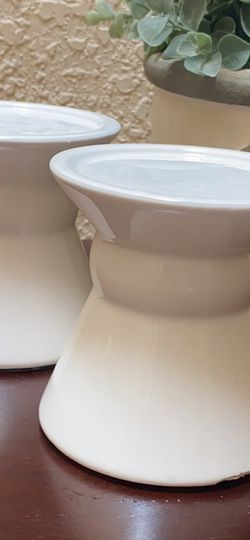 Set Of Two 4 Inch Tall Ceramic White Pillar Candle Holders for Sale in Hayward,  CA