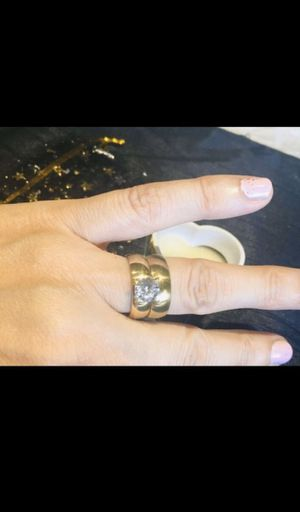 Romantic Wedding Ring White Zircon Gold-Color Stainless Steel Couple Rings For Engagement Jewelry size 7 $9 for Sale in Avondale, AZ