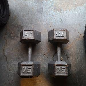 Set Of 75lbs Hex Dumbbells for Sale in Philadelphia, PA