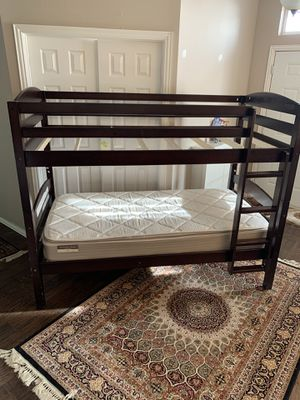Wood Bunk Bed Twin Over Twin Kids Bedroom Plus one mattress for Sale in McKinney, TX