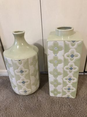 "Still available 2 handcrafted porcelain vases 18"" tall pick up Gaithersburg md20877 for Sale in Gaithersburg, MD"