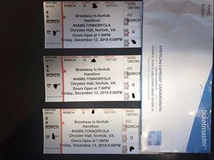 Hamilton 3 Orchestra Tickets. December 13th for Sale in Chesapeake, VA