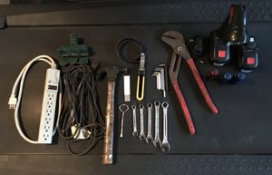 VARIOUS TOOLS & OTHER GARAGE ITEMS FOR SALE-LARGE PIPE WRENCH, 15'+ EXTENSION CORD, POWER STRIP, SMALLER WRENCHES, 4 FLASHLIGHTS & MORE!! for Sale in Orlando, FL