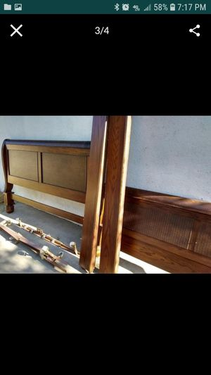 Cherrywood and leather King Size bed frame for Sale in San Bernardino, CA
