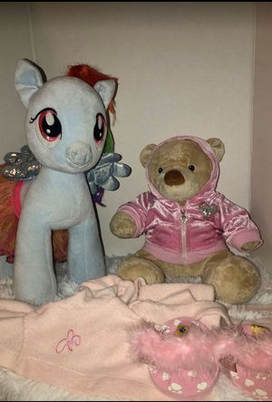 Blue Unicorn Build A Bear and Teddy Bear Build a Bear with Clothes for Sale in Apple Valley, CA