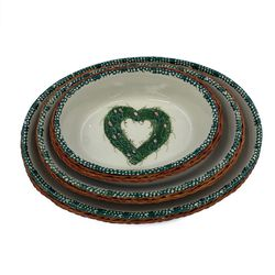 Vintage Nesting Ceramic Oval Baking Dishes Baskets Green Heart Pink Flower Set 3 for Sale in Greenville,  SC