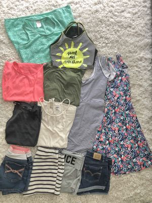 Girls summer clothes lot shorts / tops/ dress- OLD NAVY, LEVI, JUSTICE SIZE 10/12 for Sale in New Hill, NC