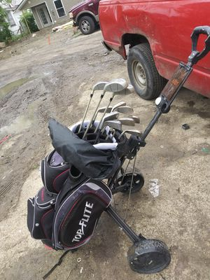 Golg cart bag w/ pull cart and clubs for Sale in Columbus, OH