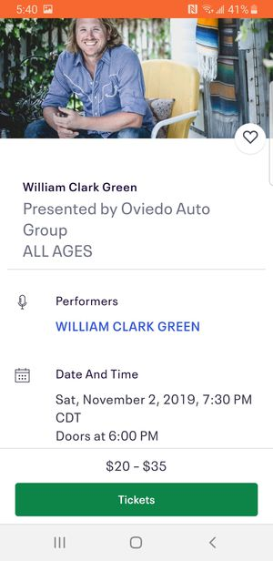William clark green tickets for Sale in Victoria, TX