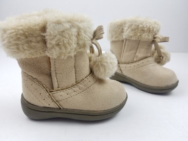 Faded Glory Kids Childrens Toddler girls Winter Booties Boots Size 3 Biege Pull On Faux Fur