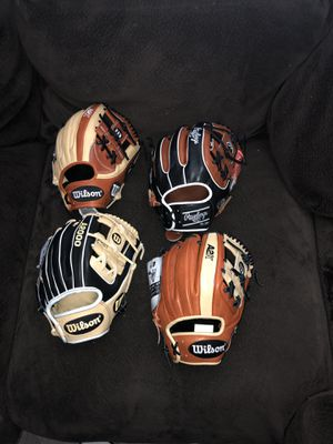 Wilson a2000, a2k's, Rawlings Pro P baseball gloves for Sale in Fresno, CA