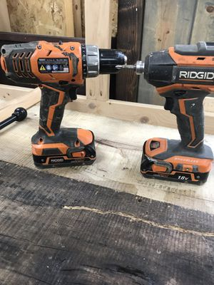 Rigid drill and impact with 2 chargers and 3 batteries for Sale in Sallisaw, OK