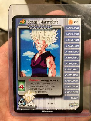 Authentic Dragonball Z COllectible EXCELLENT CONDITION EXTRA RARE TRUNKS THE POWERFUL AND GOHAN ASCENDANT CARDS HIGHLY SOUGHT for Sale in San Mateo, CA