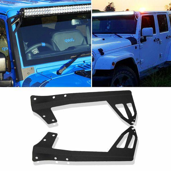 52 Inch Straight LED Work Light Bar Steel Metal Upper Windshield Mounting Brackets Fit 2007 2015 Jeep JK Wrangler Unlimited Rubicon Sport Sahara JKU