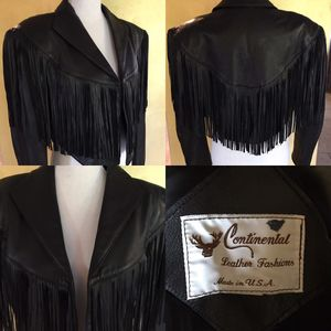 Vintage Fringed crop leather Jacket size Small for Sale in Los Angeles, CA