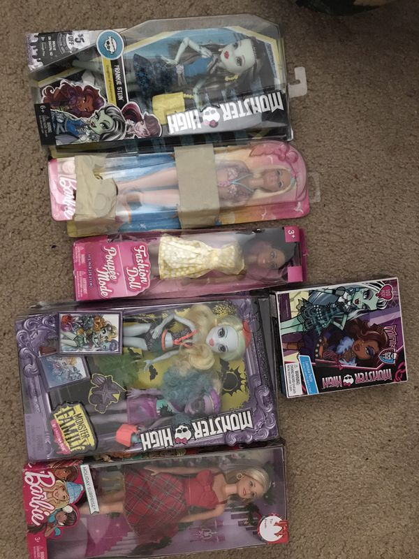 Monster high and Barbie dolls