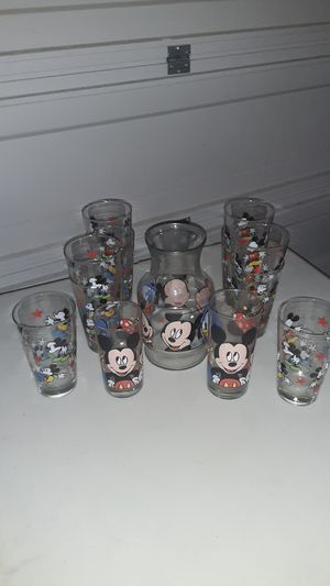 MICKEY MOUSE Vintage Drinking Glasses & Pitcher Collection 13 pieces for Sale in Leander, TX