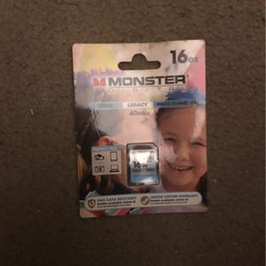 Monster 16gb SDHC Memory Card Brand New. for Sale in Willow Grove, PA