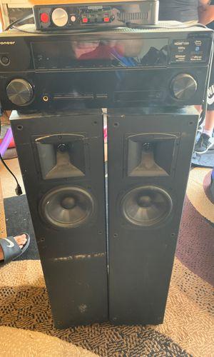 Klipsch speaker tower, pioneer stereo system and rocket fish speaker kit for Sale in Modesto, CA