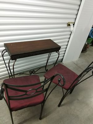 2 wrought iron chairs and wanted decorator table DIY for Sale in Takoma Park, MD