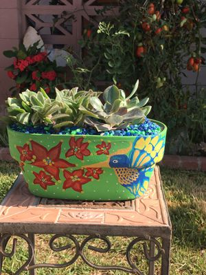Gorgeous Hand Peinted Clay Vase With Succulent for Sale in Fontana, CA