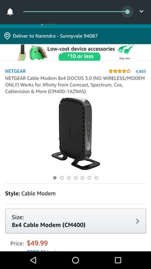 NETGEAR Cable Modem 8x4 DOCSIS 3.0 (NO WIRELESS/MODEM ONLY) Works for Xfinity from Comcast, Spectrum, Cox, Cablevision & More (CM400-1AZNAS) for Sale in Irving, TX