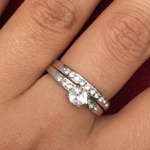 Gold plated wedding ring engagement ring band set size 8and 9available for Sale in Silver Spring, MD