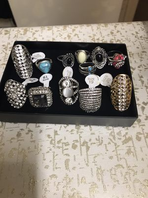 12 pc ladies rings plated silver custom jewelry sizes 6,7,8,9,10 still available for pick up in Gaithersburg md20877 for Sale in Gaithersburg, MD