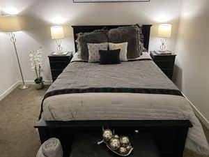Queen bed frame and two night stands for Sale in Denver, CO