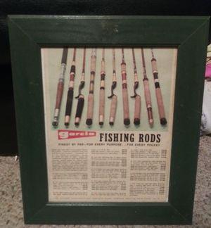 2 Vintage Garcia Rod and Reels Framed Advertisements for Sale in Pulaski, TN